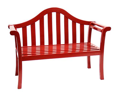 Contemporary Glossy Red Arched Porch Bench Patio Furniture Garden Supplies