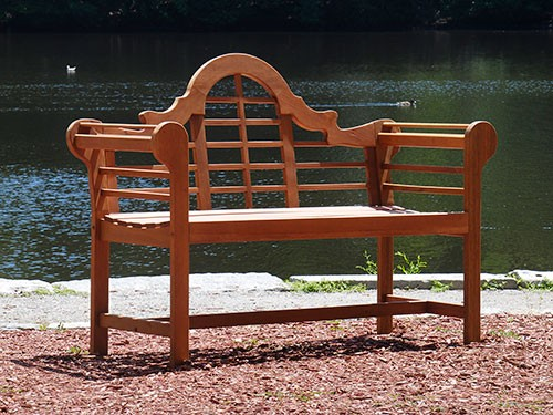 Eucalyptus Wooden Lutyens Teak Patio Love Bench - Garden Supplies Web
