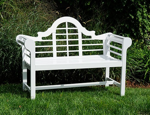 Eucalyptus White Wooden Lutyens Teak Patio Love Bench - Garden Supplies Web