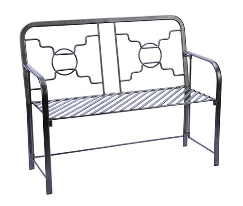 Geometric Modern Graphite Coated Garden Bench - Garden Supplies