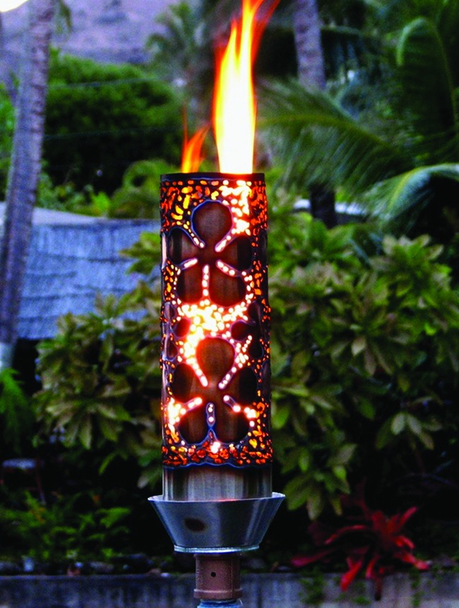 Hand crafted tropical flower tiki torch unique tiki for Outdoor tiki torches