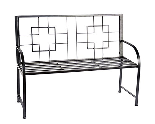 Modern Square Patterned Graphite Coated Garden Bench - Garden Supplies